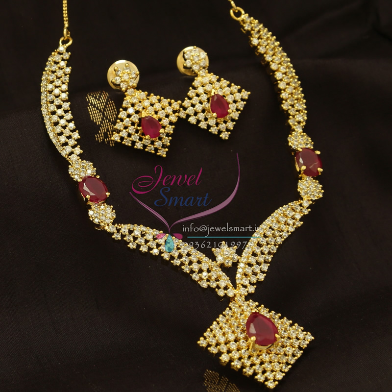 Nl0901 cz ruby sparkling stones diamond finish imitation for Jewelry sale online shopping
