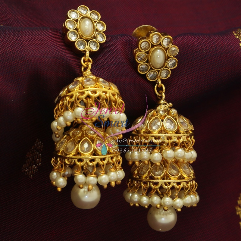 Polki jhumka earrings ~ beautify themselves with earrings