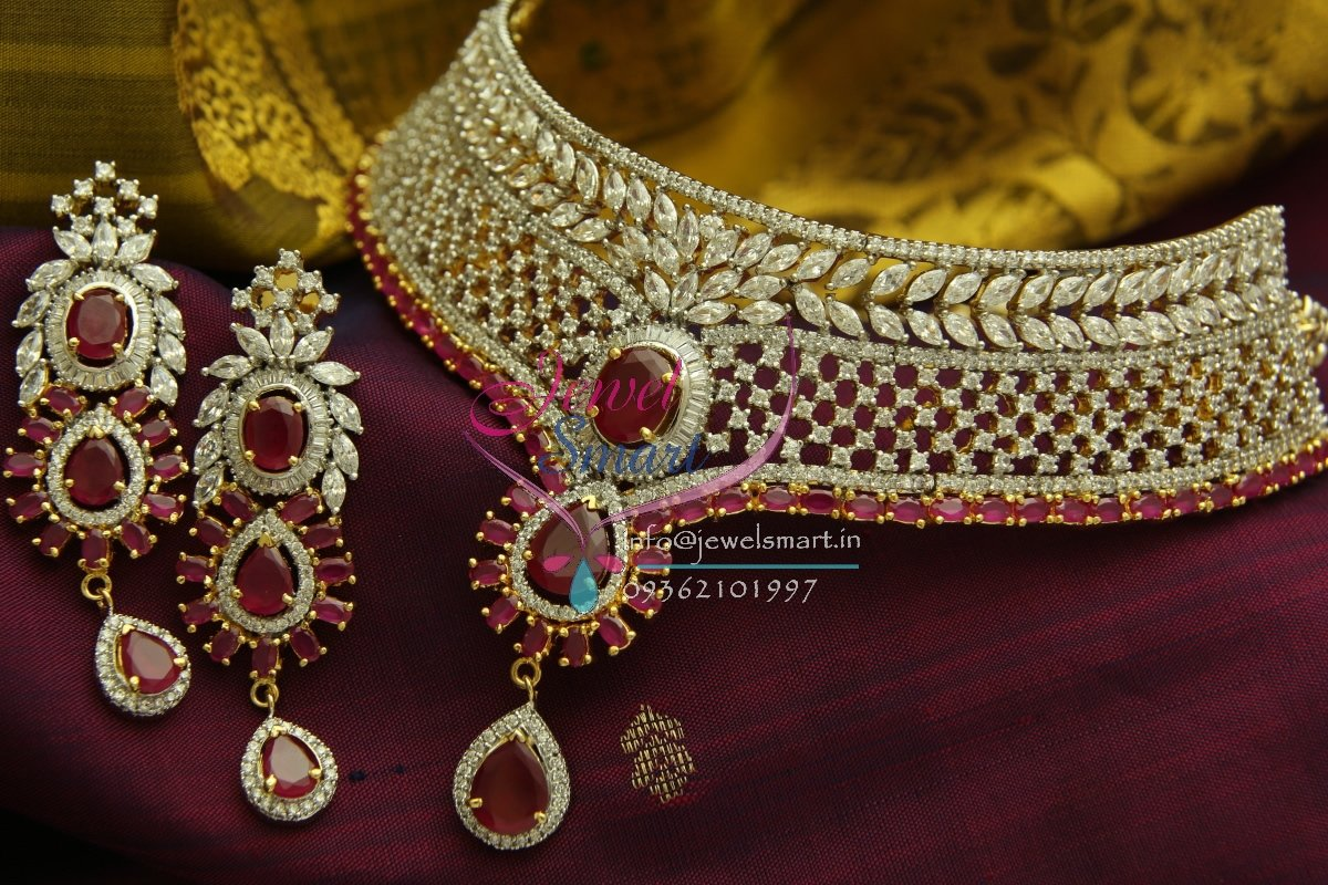 CH0978 CZ Ruby Stones Pearl Grand Choker Wedding Offer Price ...