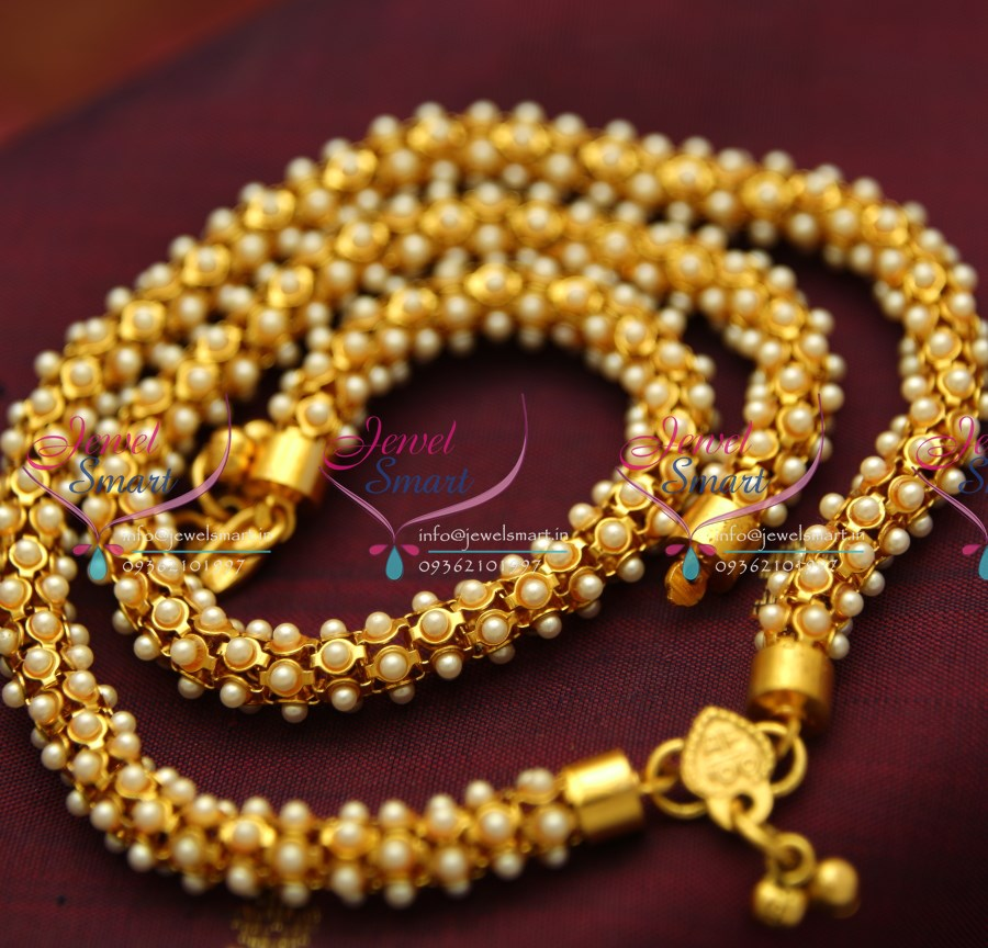 P1063 10 5 Inches Pearl Fancy Antique Payal Anklets Leg