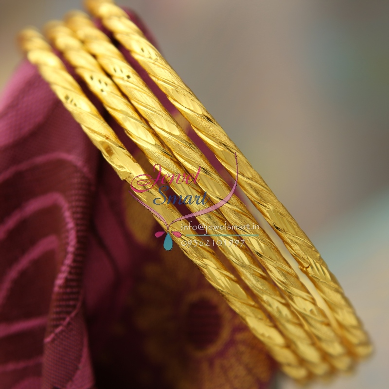 B1204 2 6 Size Gold Plated 4 Pcs Delicate Bangles Gold