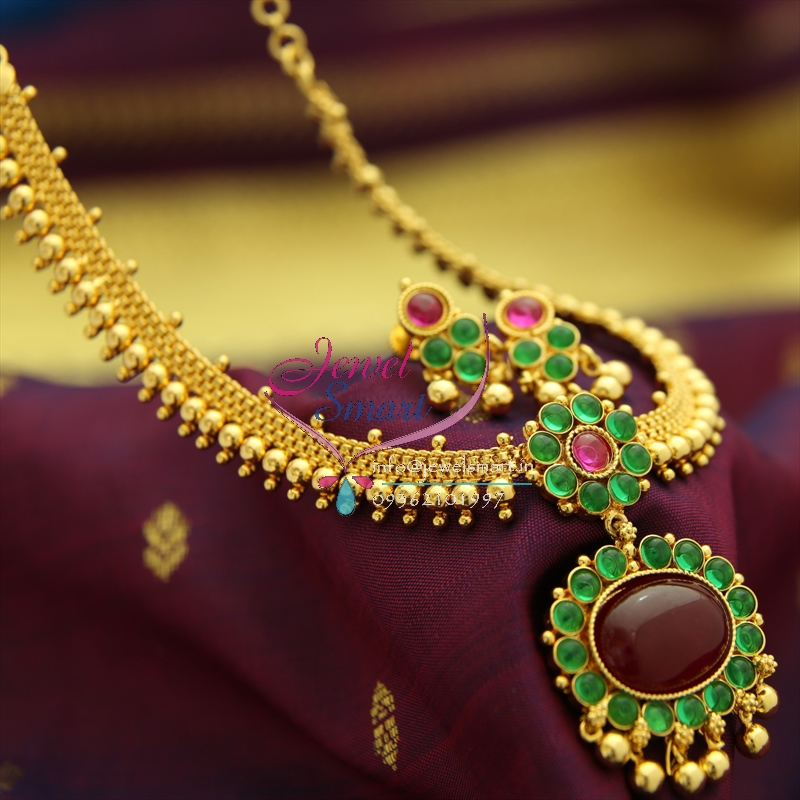 Nl1269 beads gold design chain necklace kempu temple for East indian jewelry online