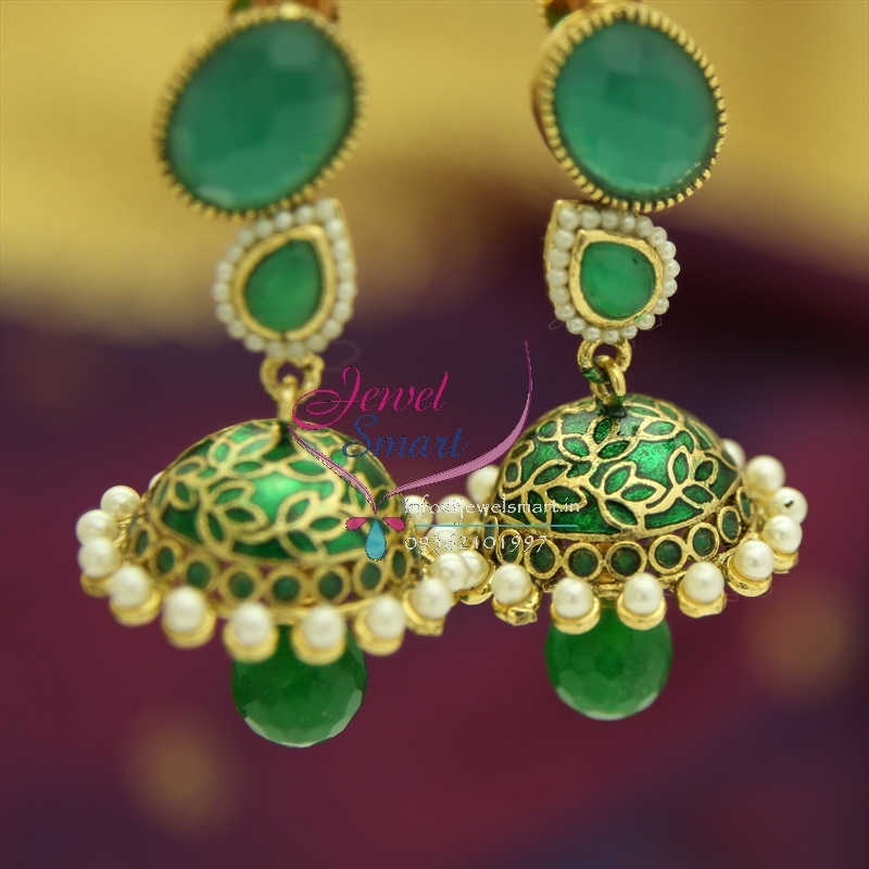 Er1326 green antique handmade party wear jhumka earrings for Vintage costume jewelry websites