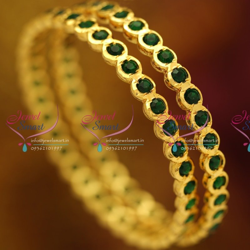 precious golden with green stone jewelry base bangle bangles semi embellished