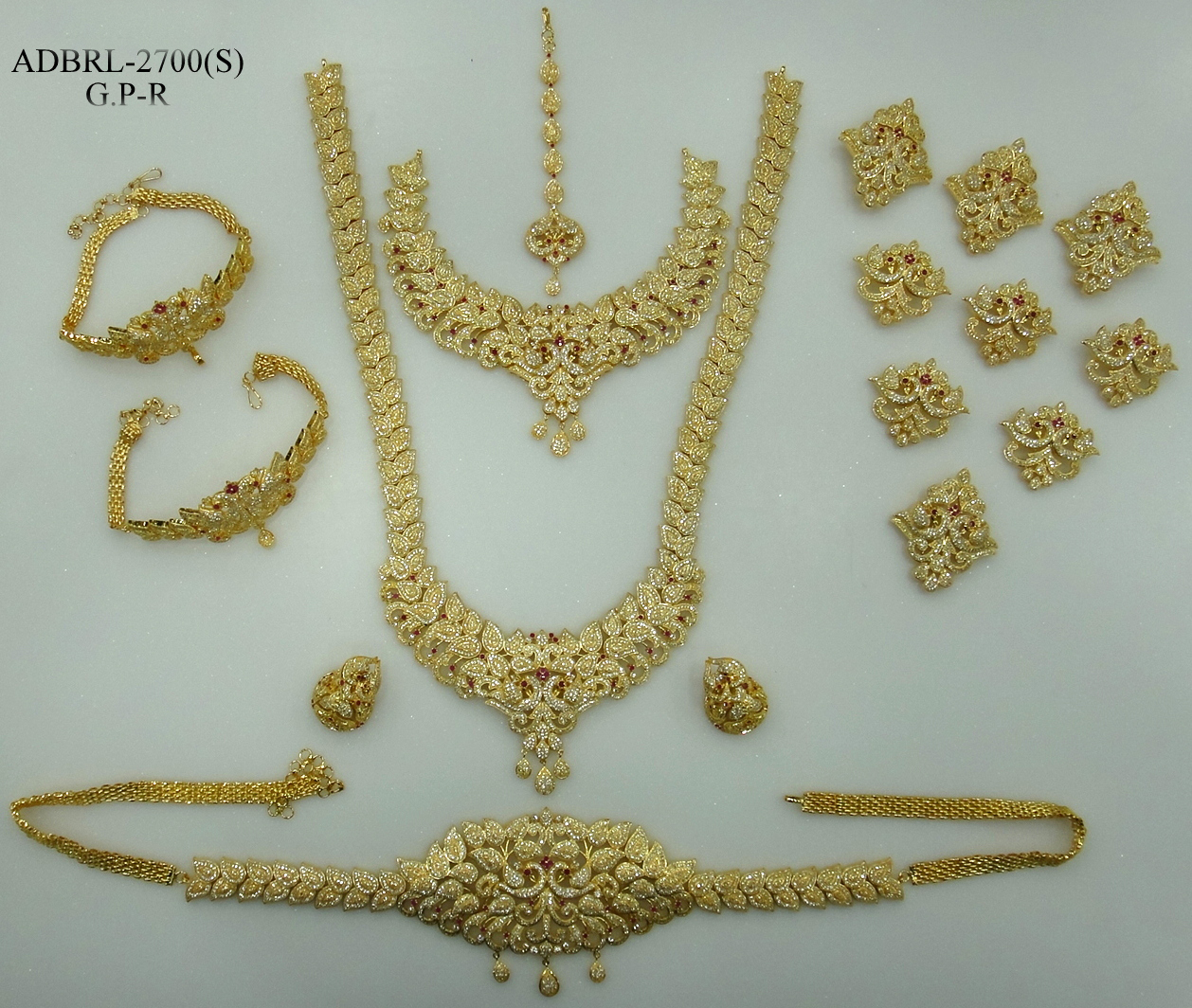 ADBRL2700GPR American Diamond Grand Full Bridal Jewellery Set Buy ...