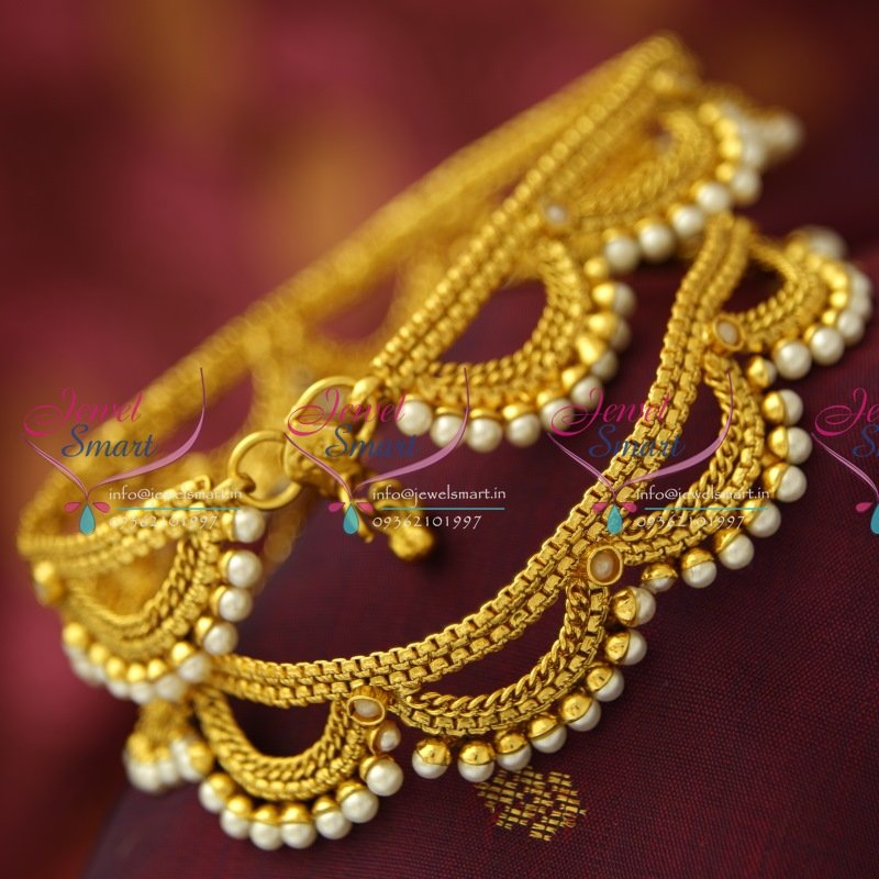 anklet jewelbox for payal buy women product pair shopping gold the red meenakari kundan green polki plated online code feri