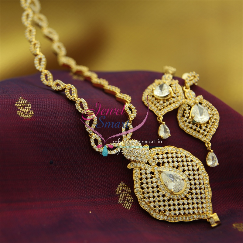 Nl1364 Gold Plating Cz White Stones Long Necklace Gold