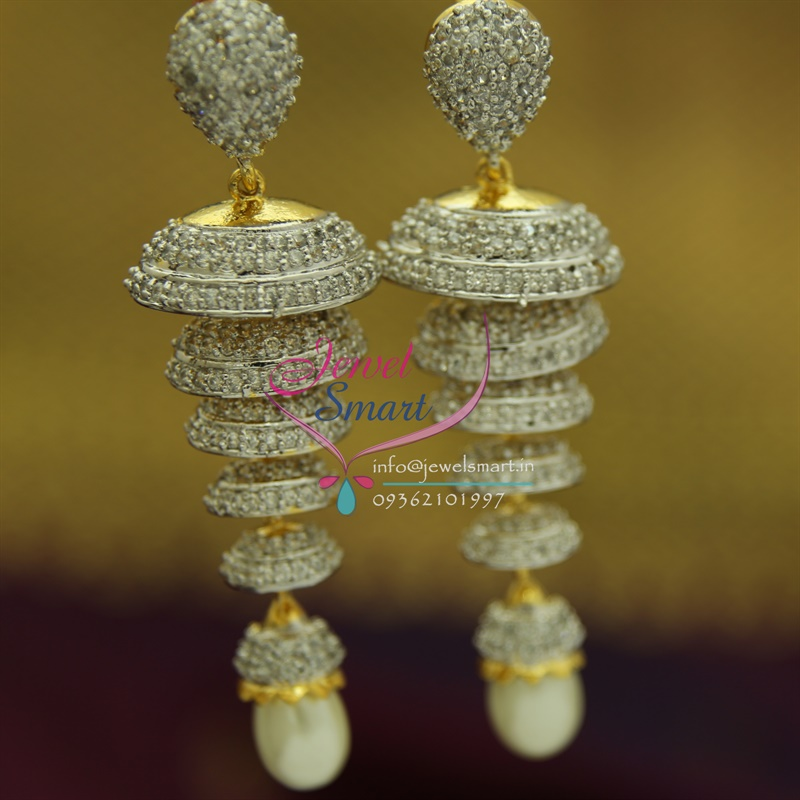 jhumka designer bridal product diamond floral chandbali front bali back earrings water