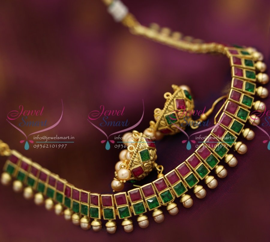 necklace ruby antique set uncut designs jewellery indian