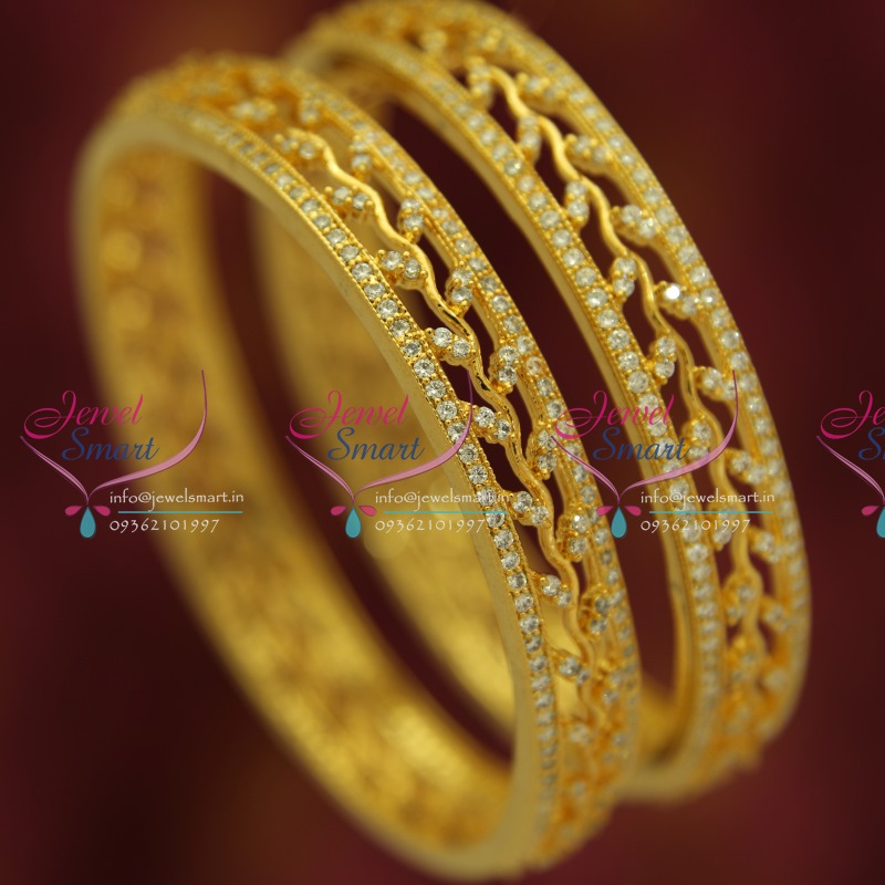 B5349S 2.4 Size 2 Pcs AD White Sparkling Gold Plated Stone Broad ...