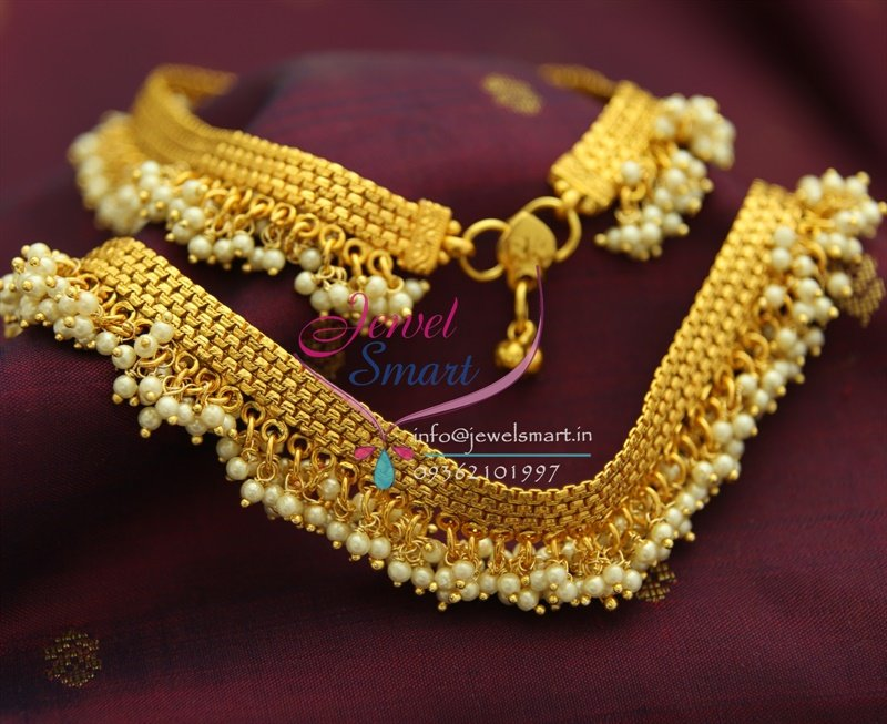 p1550 antique anklets pearl drops grand payal 10 inches
