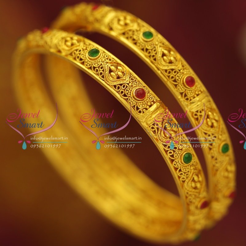 B1609 Gold Plated Handmade Kemp Jewellery Matching Bangles Buy Online