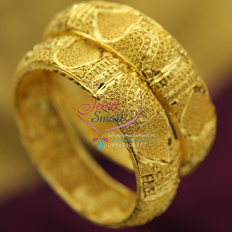 B1616 Gold Plated Delicate Broad Heart Design Bangles