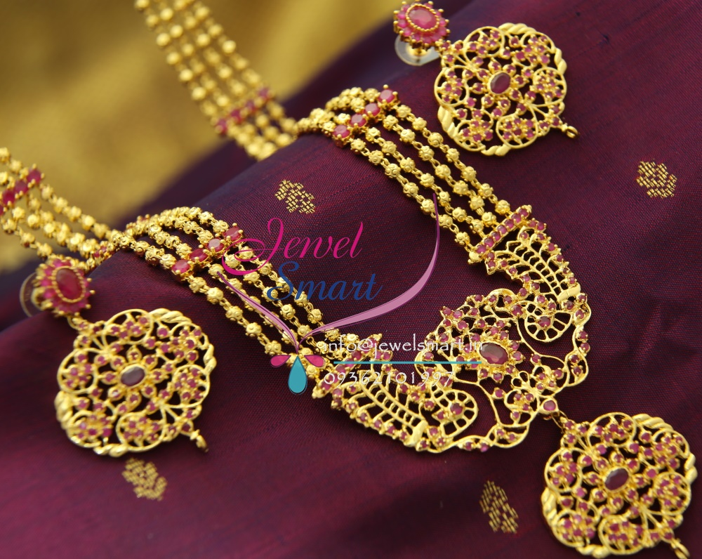 Gold long necklace design with price - Nl1687 4 Strand One Gram Gold Plated Beads Haram Long Necklace Traditional Indian Jewellery Online