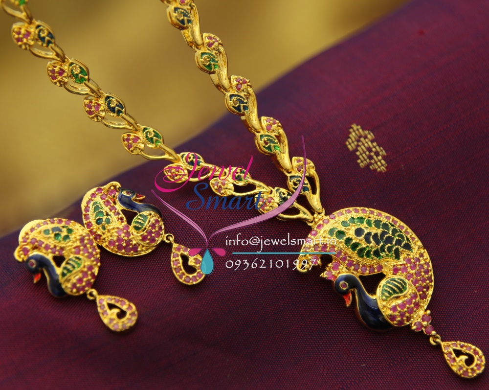 Nl1692 Ruby Enamel Peacock Gold Design Imitation Jewellery