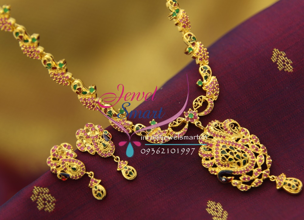 nl1694 ruby enamel peacock gold design imitation jewellery