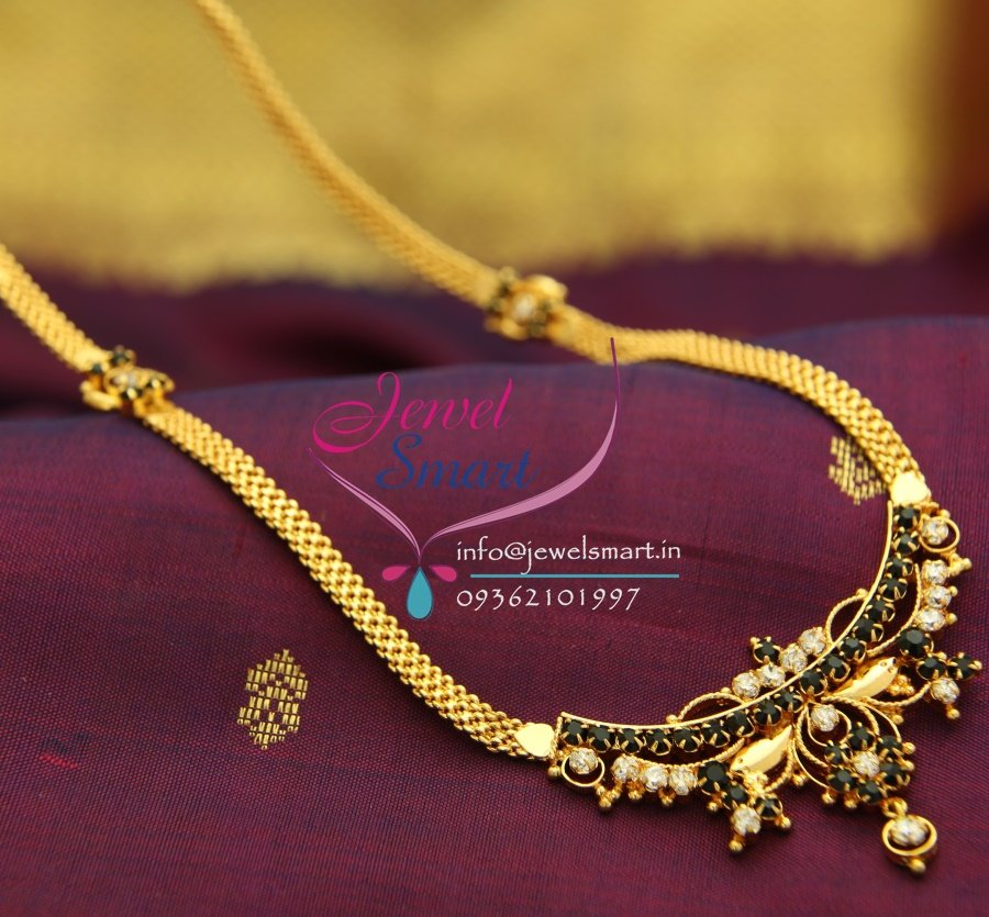 NL1745 White Black Gold Plated South Indian Traditional Jewellery ...