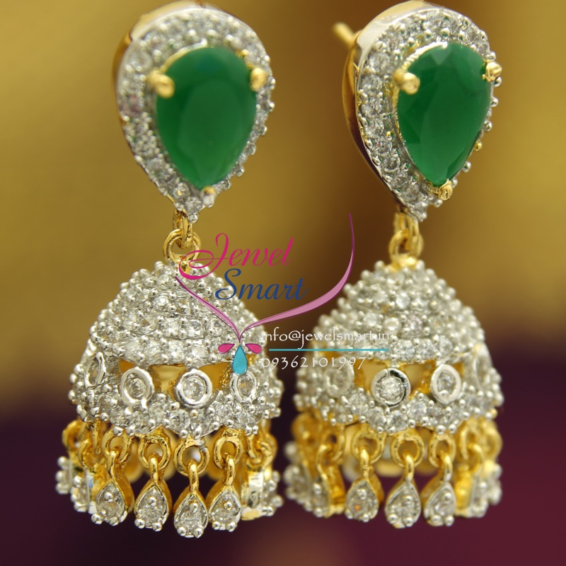 j1755 american white emerald jhumka gold design