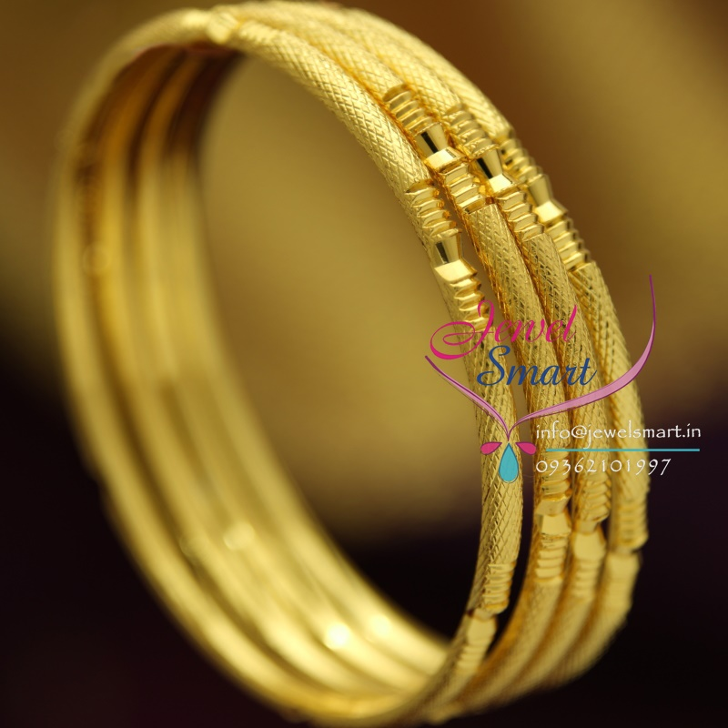 B1202 2.4 Size Gold Plated 4 Pcs Delicate Bangles Gold ...