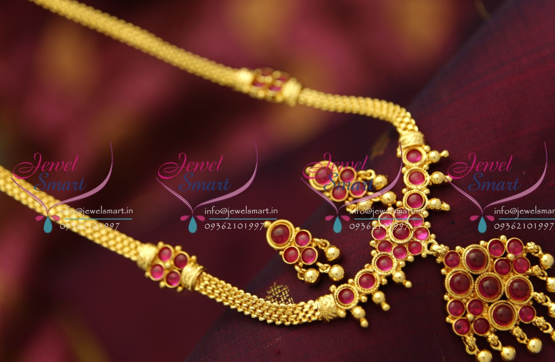 Nl1794 South Indian Gold Plated Traditional Kemp Jewellery Haram Long  Necklace Gold Imitation Jewellery