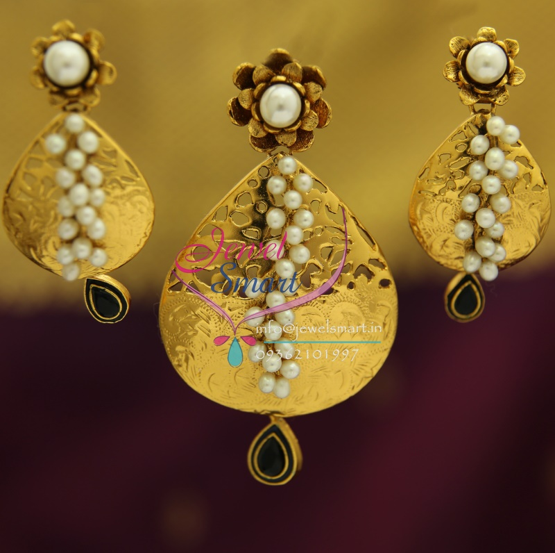 PS1833 Exclusive Antique Gold Design Handmade Real Pearl Jewellery Pendant Set Online