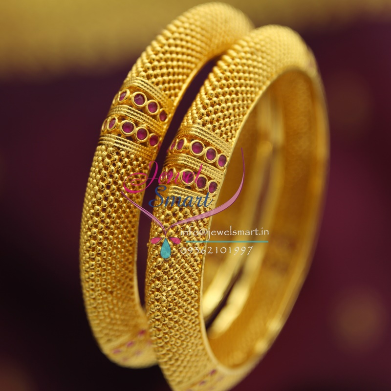 B1843 Gold Plated Beads Design Ruby Stones Broad Bangles Party ...
