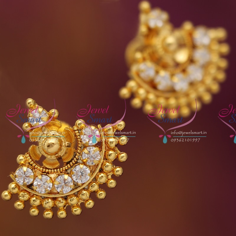 ES1882 South Indian Traditional Screwback AD Earrings Gold Finish ...
