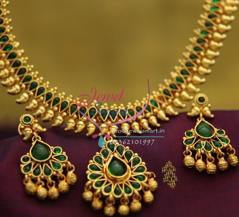 NL1912 Gold Plated Mango Design Green Color Stones Traditional Indian Jewellery Set
