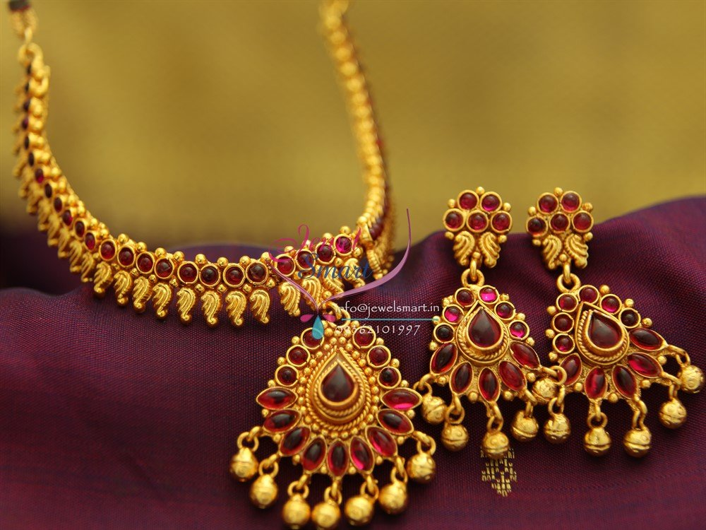 0de9b637471ec NL1918 Gold Plated Mango Design Red Color Stones Traditional Indian  Jewellery Set