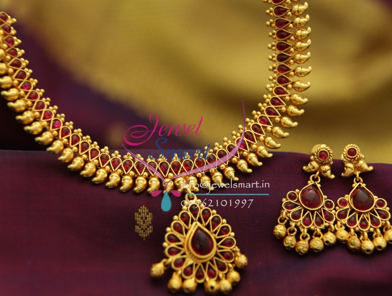 5c0004cd1448a NL1932 Gold Plated Mango Design Red Color Stones Traditional Indian  Jewellery Set