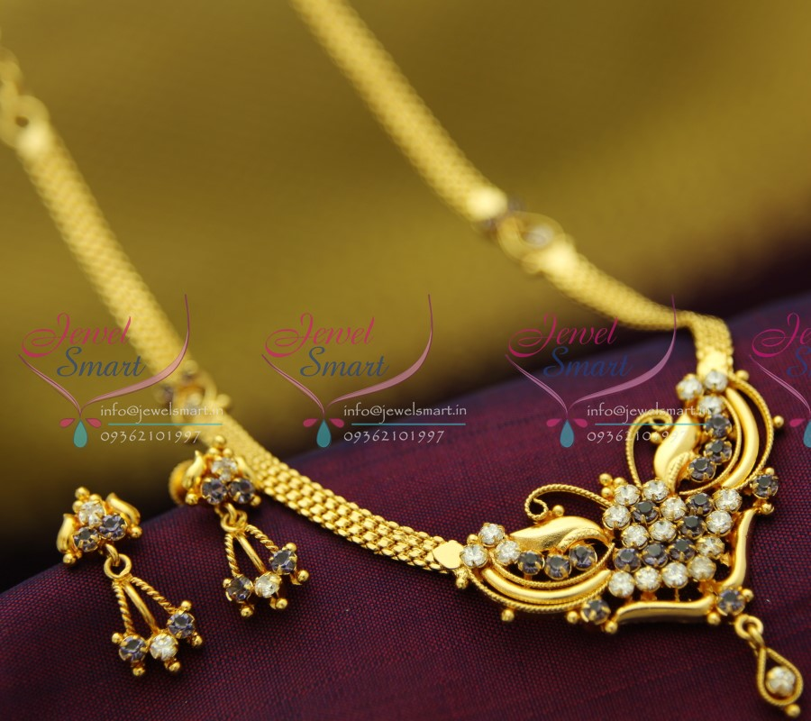 22ct Indian Gold Necklace Set: NL2048 22Ct Gold Plated South Indian Traditional Jewellery