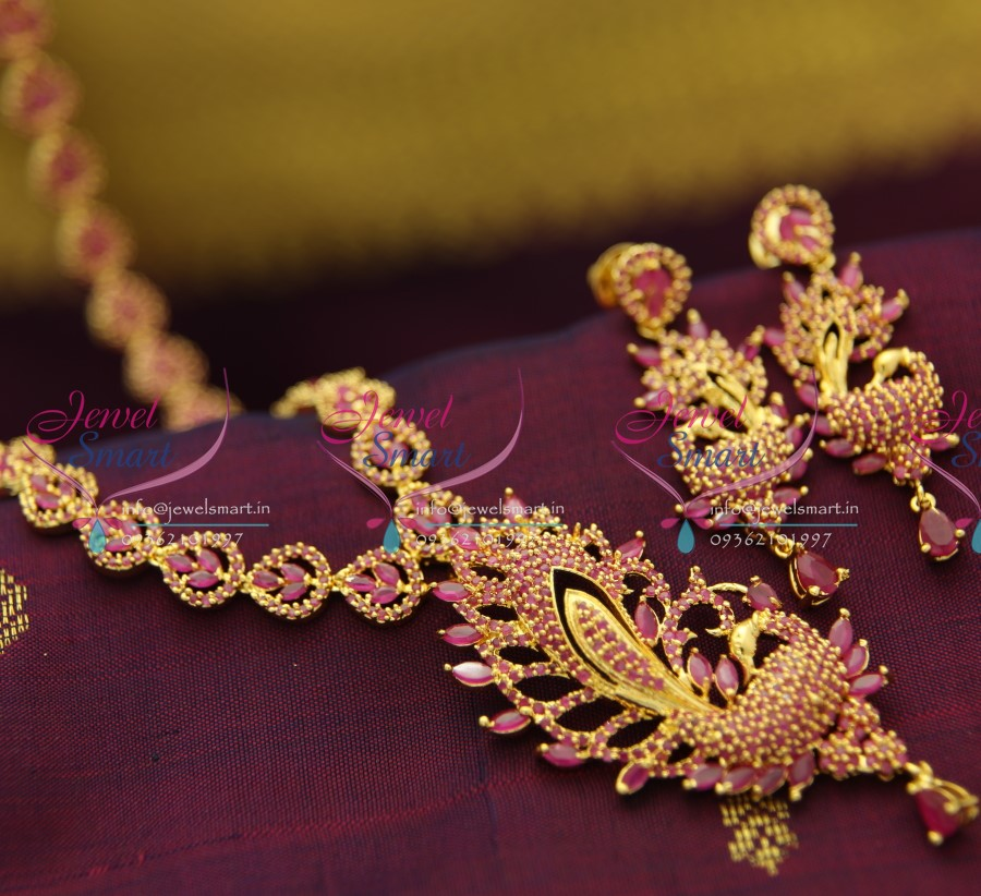 Nl2396 South Indian Traditional Ruby Long Haram Peacock