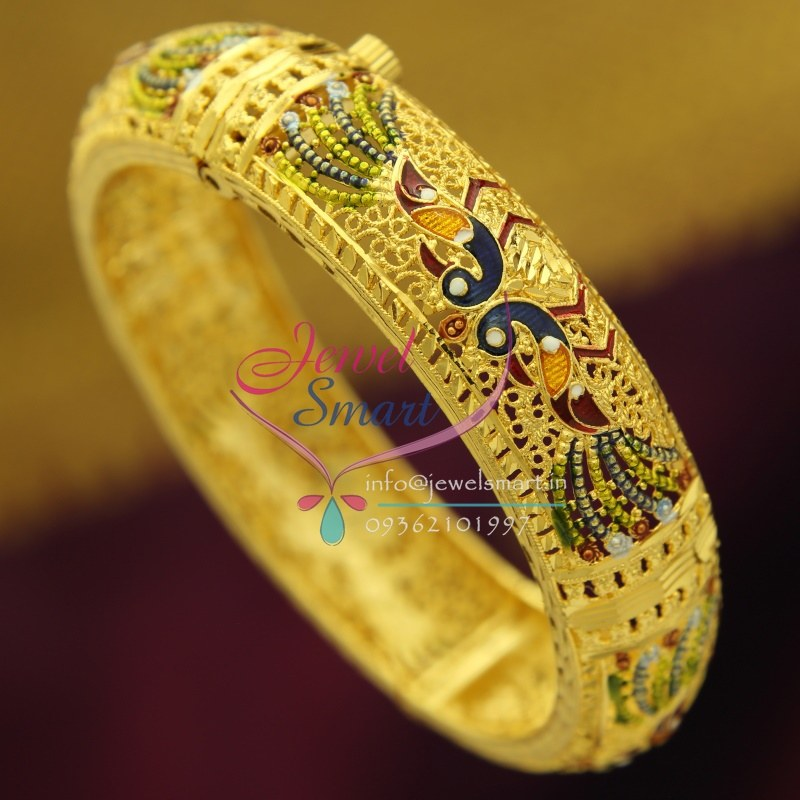 B2416 Gold Plated Delicate Peacock Intricate Meena