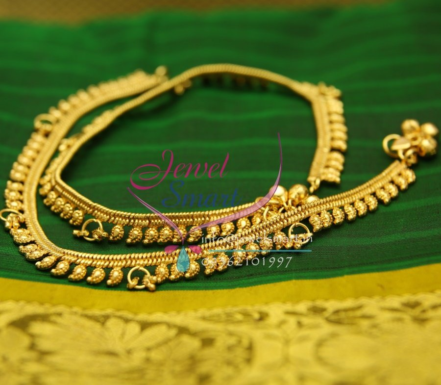 A2433 Gold Plated Fancy Design Imitation Payal Leg Chain Anklet South Traditional Jewellery