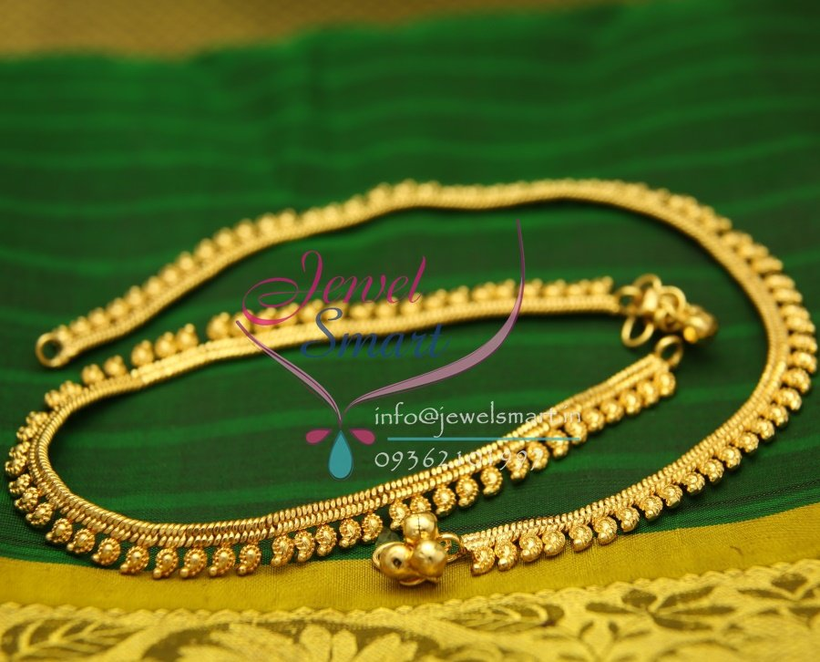 A2436 Gold Plated Fancy Jewellery Design Imitation Payal Leg Chain Anklet Traditional
