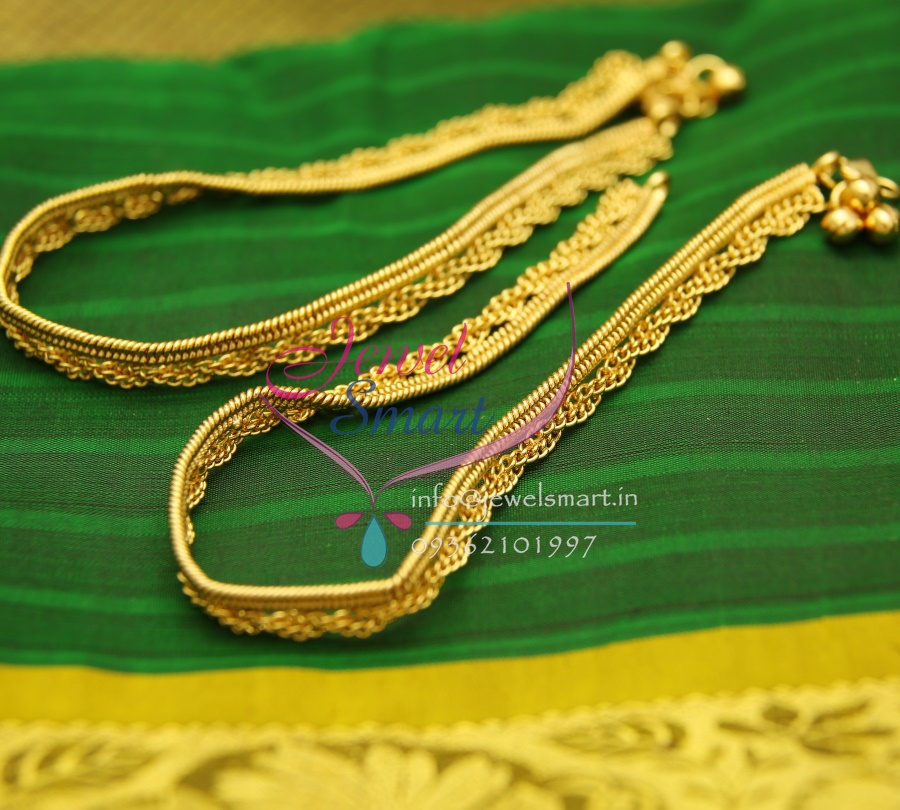 A2440 Fancy Design Imitation Payal Leg Chain Anklet Traditional Five Metal Jewellery