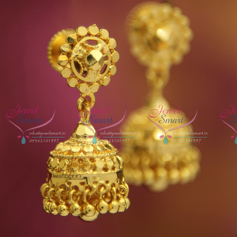 J2593 Screw Lock Gold Design Plated Fancy Jhumka Online Latest ...