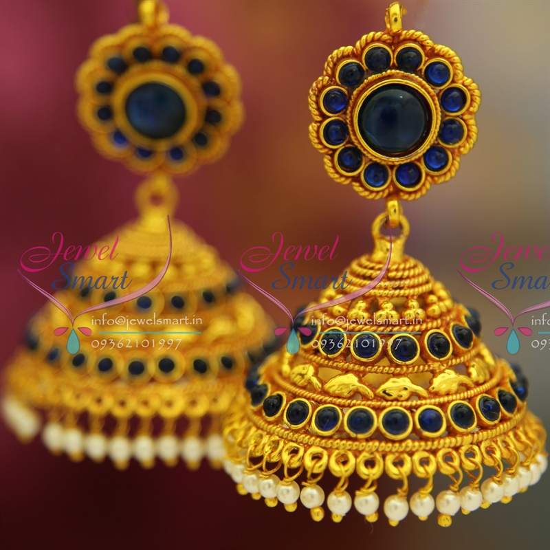 J2608 Sapphire Blue Temple Traditional South Indian Jewellery Big ...