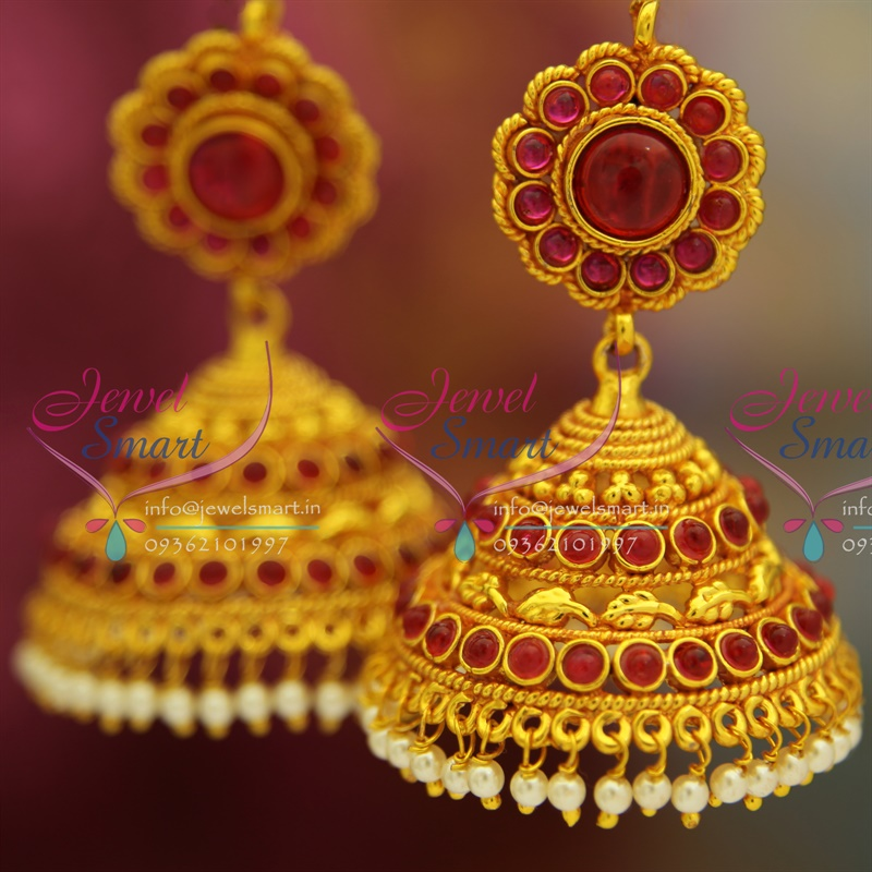 Pearl Jewellery Necklace >> J2609 Kempu Temple Traditional South Indian Jewellery Big ...