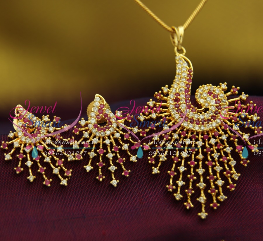 Ps2665 ad ruby white stones peacock design fancy jewellery pendant ps2665 ad ruby white stones peacock design fancy jewellery pendant set gold finish buy online mozeypictures Images