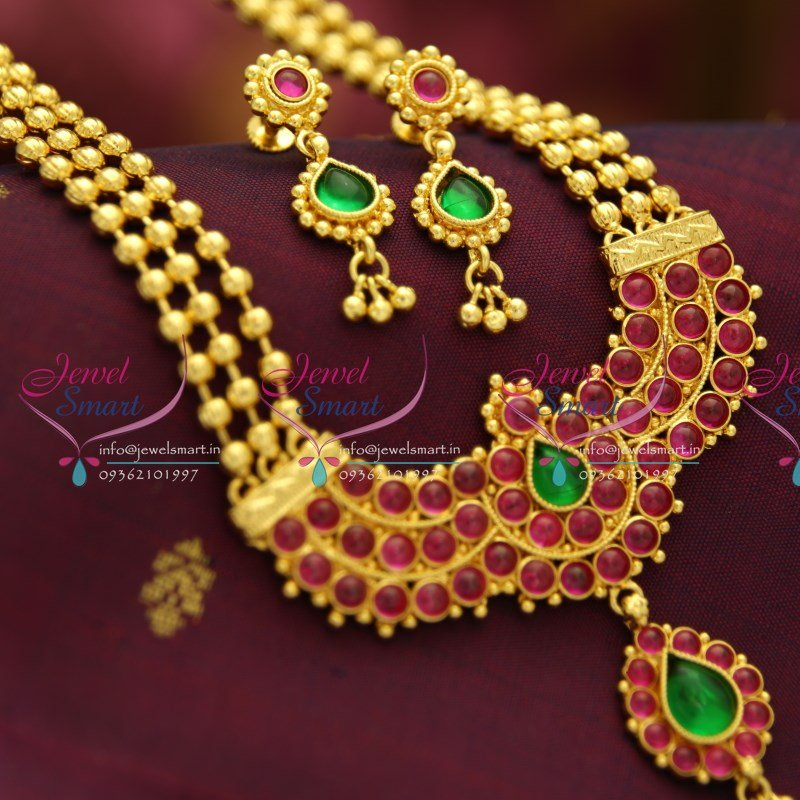 NL1669 Exclusive Kempu Jewellery Online One Gram Gold Plated Beads Long Haram Necklace & NL1669 Exclusive Kempu Jewellery Online One Gram Gold Plated Beads ...