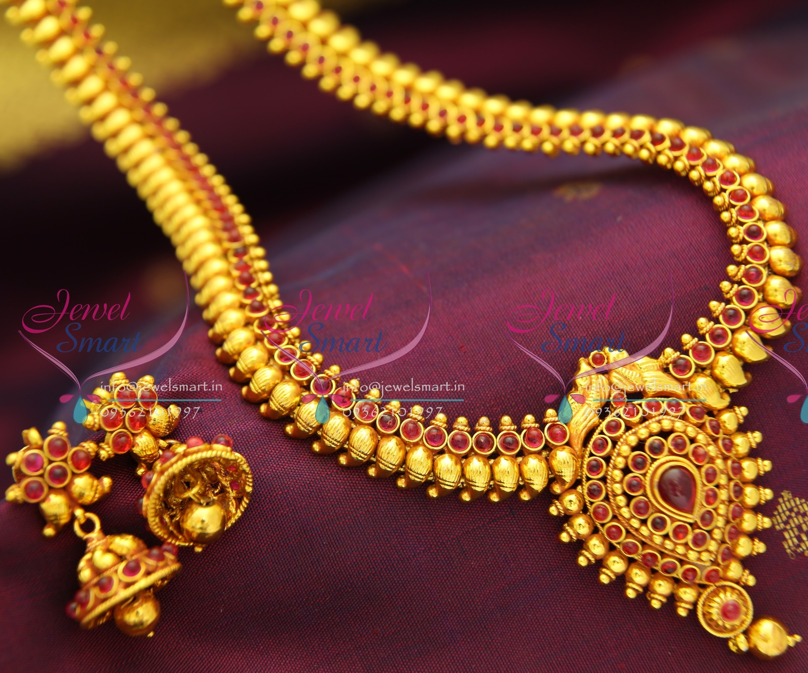 Gold long necklace design with price - Nl1156 Traditional Mango Haram Design Red Gold Plated Necklace Haram Set With Synthetic Spinel Ruby Stones
