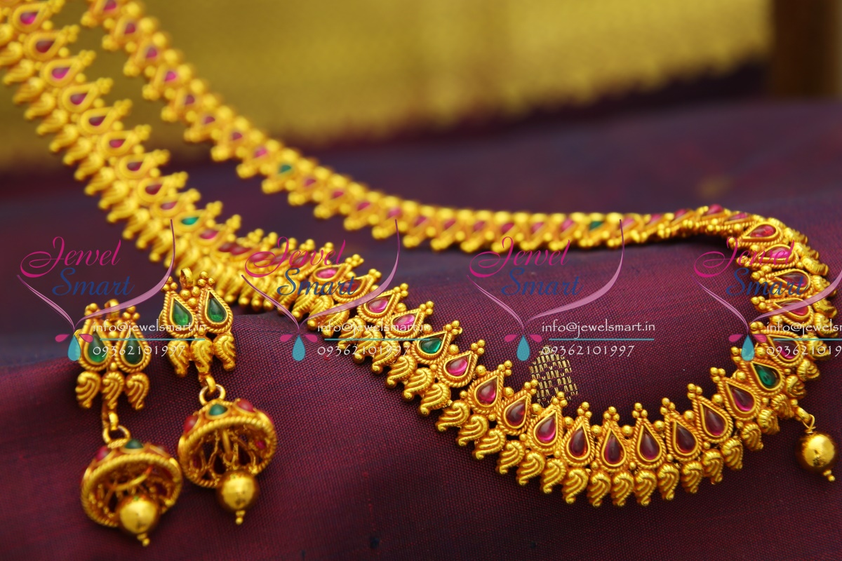 NL2774 Red Gold Plated Temple Kemp Long Haram Traditional Gold ...