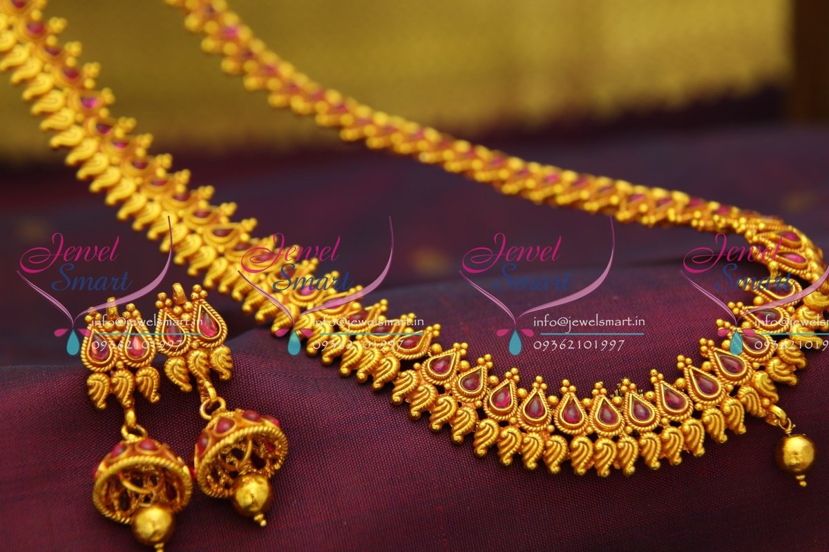 Nl2775 Red Gold Plated Temple Kemp Long Haram Traditional Gold Design Indian  Jewelry