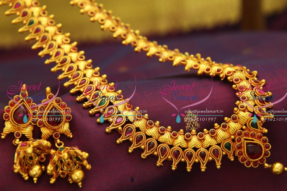 Nl2776 Red Gold Plated Temple Kemp Long Haram Traditional Gold Design Indian  Jewelry