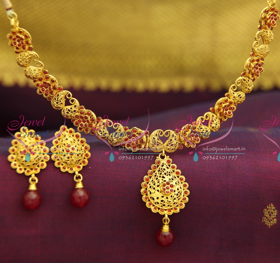 beads traditional india south jewels latest golden necklace model gold neads premraj