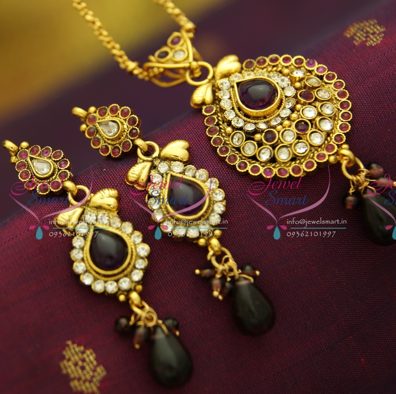 Gold Plated Silver Antique Beads: PS2861 Antique Gold Plated Chain Pendant Set Online Offer