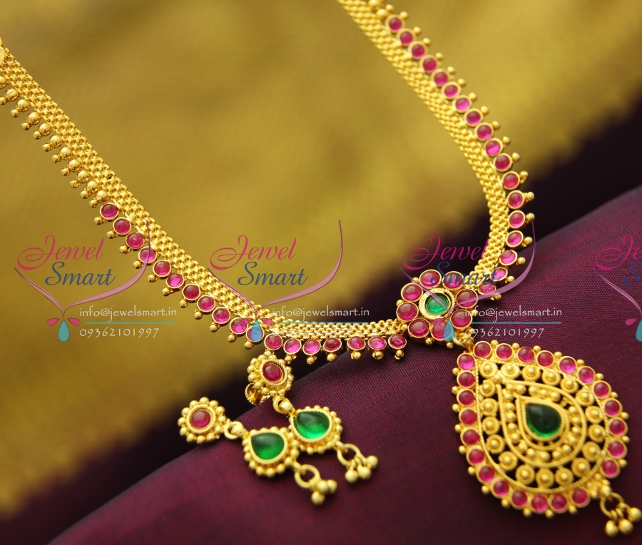 NL2872 Temple Kempu South Indian Traditional Gold Design ...