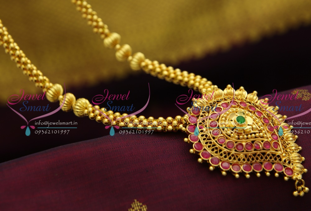 NL2875 Beaded Jewellery Temple Kempu South Indian Traditional Gold ...