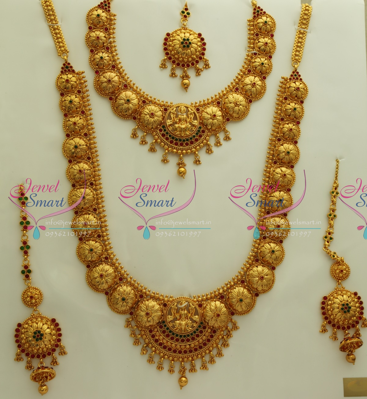 DS0096 Exclusive Indian Traditional Grand Temple Laxmi God Wedding Jewellery Kempu Stones Antique Gold Plated & DS0096 Exclusive Indian Traditional Grand Temple Laxmi God Wedding ...